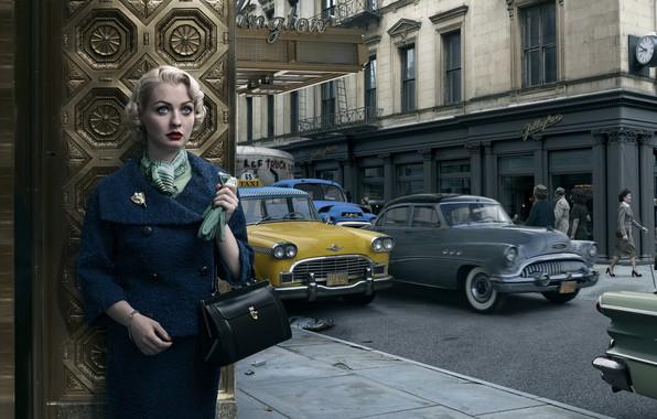 Картинка авто, девушка, город, ретро, Pontiac, New-York, Buick, Stories