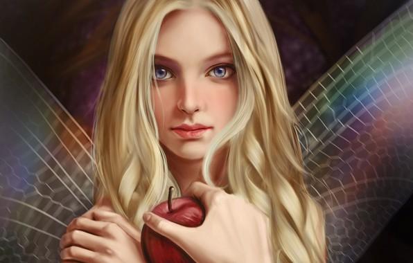 Картинка взгляд, лицо, яблоко, рука, фея, крылышки, длинные волосы, art, Vincent Chu
