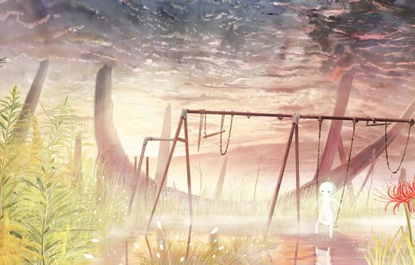 Картинка небо, вода, природа, качели, девочка, ликорис