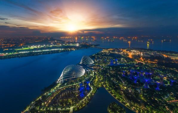 Картинка ночь, lights, огни, небоскребы, Сингапур, архитектура, мегаполис, blue, night, fountains