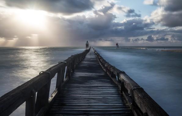 Картинка море, мост, маяк, утро