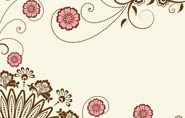 Картинка цветы, фон, vector, графика, вектор, текстура, орнамент, ornament