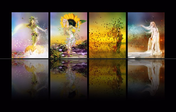 Картинка зима, осень, лето, рендеринг, фантазия, времена года, коллаж, весна, картинка