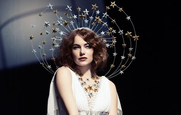 Картинка макияж, платье, актриса, прическа, наряд, звёздочки, шатенка, фотосессия, Emma Stone, Эмма Стоун, SNL, Mary Ellen …