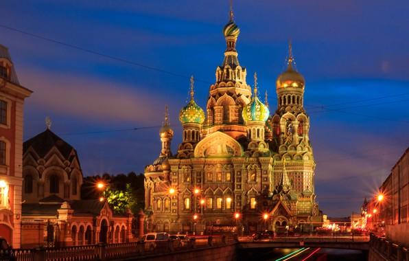 Картинка Санкт-Петербург, храм, Россия, ночной город, Храм Спаса на Крови