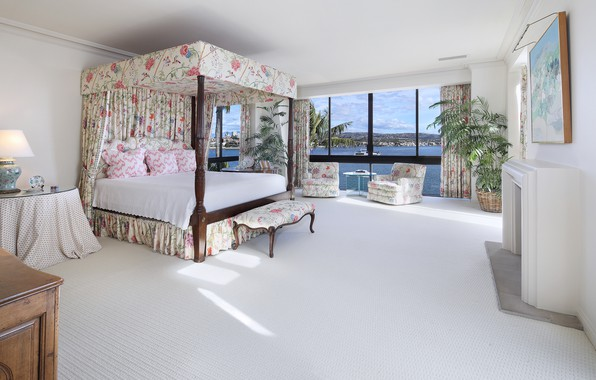 Картинка комната, кровать, картина, окно, отель