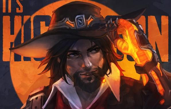 Картинка шляпа, ковбой, art, van helsing, Overwatch, McCree