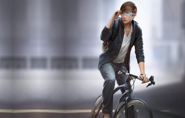 Фото обои G-host Lee, велосипед, парень, очки, Jason - And His Items, город