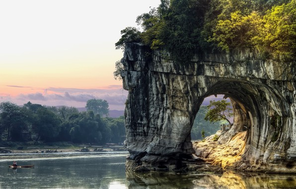Картинка China, rock, sky, trees, landscape, nature, water, clouds, lake, tunnel, boat, fisherman, vegetation, arch