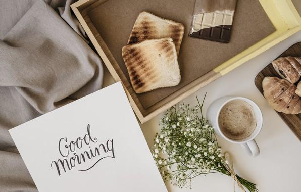 Картинка цветы, кофе, шоколад, завтрак, flowers, cup, romantic, chocolate, coffee, good morning, тосты, круассаны, breakfast, croissants
