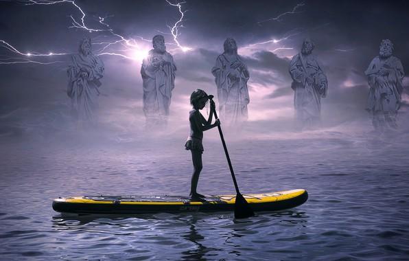 Картинка море, гроза, небо, вода, облака, старость, тучи, туман, река, юность, одиночество, рендеринг, фантастика, молнии, лодка, …