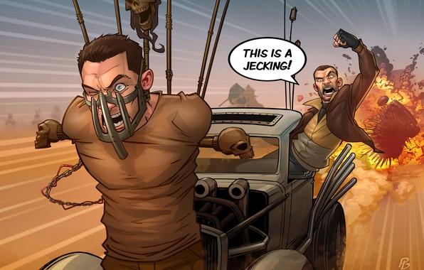 Картинка авто, арт, crossover, niko bellic, gta, Patrick Brown, Grand Theft Auto, PatrickBrown, mad max