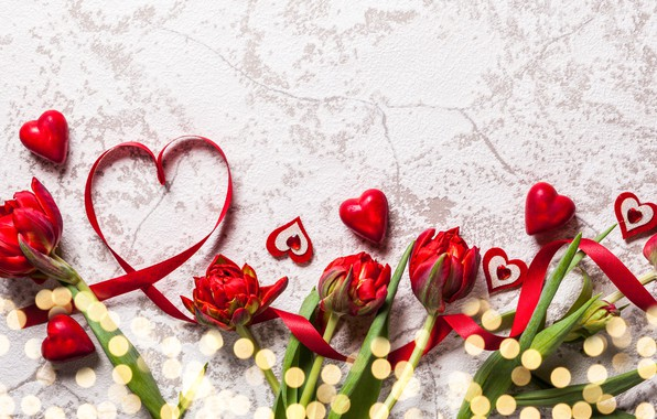 Картинка любовь, цветы, букет, сердечки, тюльпаны, red, love, heart, wood, flowers, romantic, tulips, Valentine's Day, gift