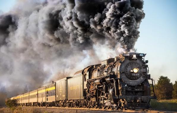 Фото обои паровоз, железная дорога, дым