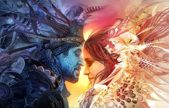 Картинка colors, colorful, girl, love, woman, texture, man, boy, mood, couple, rendering, digital art, artwork, feeling, …