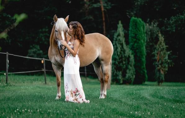 Картинка зелень, трава, девушка, деревья, природа, лошадь, платье, прическа, шатенка, боке, изгородь, Constance, Susanne Weber