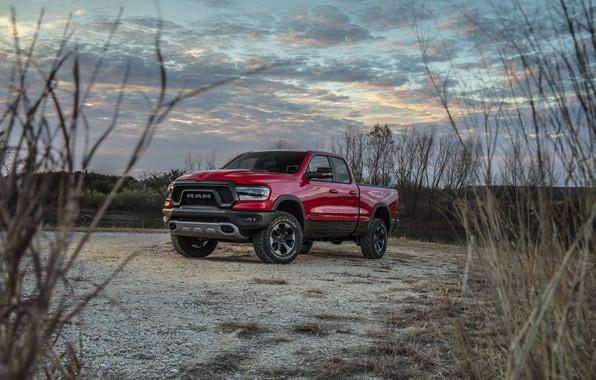 Обои красный, берег, стоянка, Dodge, пикап, кустарник, Ram 1500