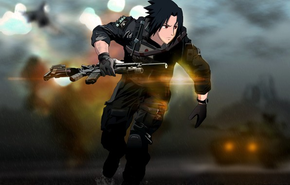 Картинка gun, game, Naruto, weapon, anime, crossover, sharingan, ninja, asian, rifle, manga, Uchiha Sasuke, tank, shinobi, …