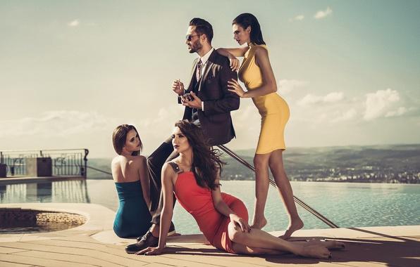 Картинка стиль, девушки, костюм, мужчина, платья