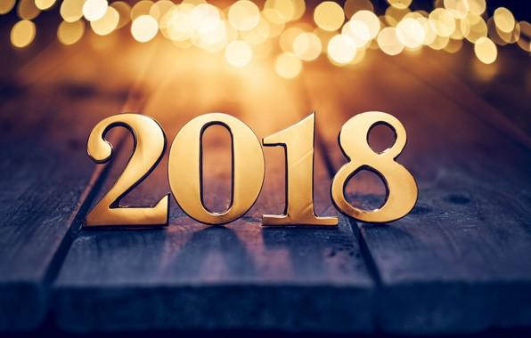 Картинка новый год, цифры, золотые, боке, 2018