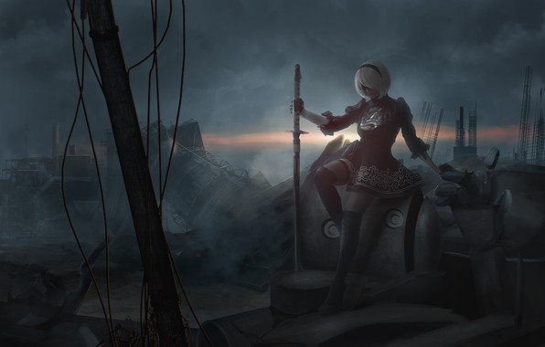 Картинка девушка, дым, меч, разрушение, косплей, NieR: Automata, YoRHa №2 тип B