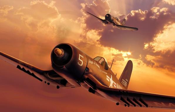Картинка Рисунок, США, палубный истребитель, Американский, ВМС США, КМП США, F4U-4 Corsair, Chance-Vought
