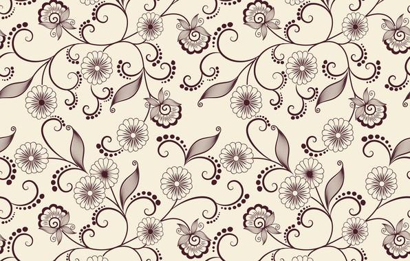 Картинка цветы, фон, узор, вектор, текстура, листики