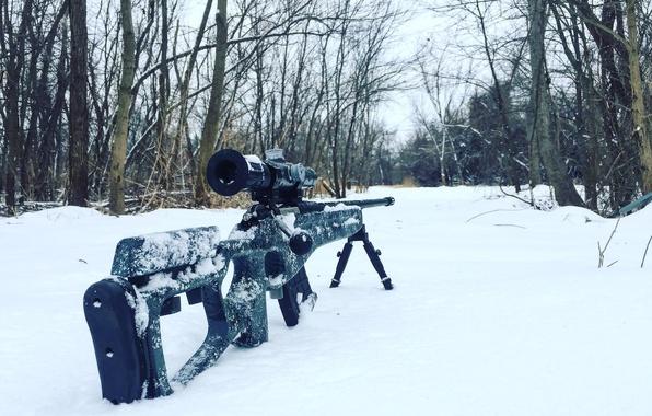 Картинка снег, оптика, снайперская винтовка