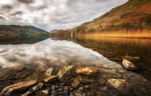 Фото обои озеро, камни, Уэльс, Сноудония, Ллин Гвинант