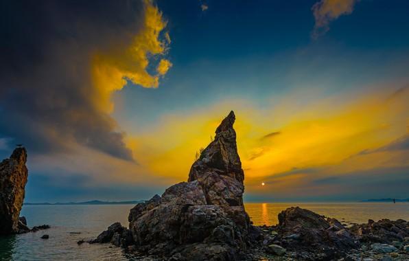 Картинка закат, скалы, вечер