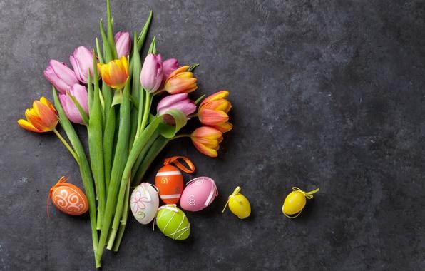 Картинка цветы, colorful, Пасха, тюльпаны, happy, pink, flowers, tulips, spring, Easter, eggs, decoration, розовые тюльпаны, яйца …