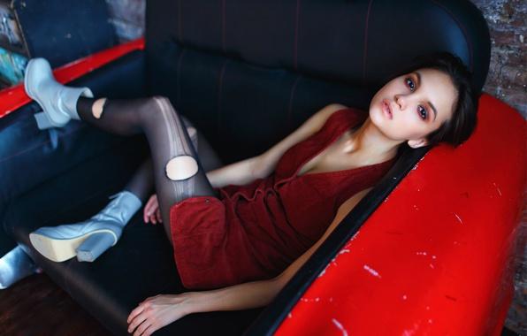 Картинка девушка, макияж, декольте, ножки, Мария Дёмина