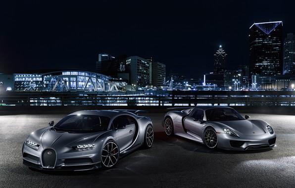 Фото обои Porsche, Bugatti, City, Spyder, 918, Lights, Silver, VAG, Chiron