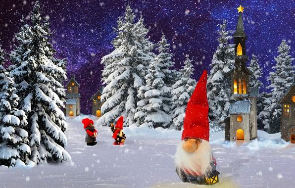 Картинка зима, природа, гном, праздник.новый од