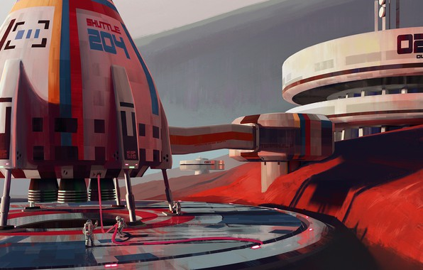Картинка fantasy, science fiction, sci-fi, digital art, artwork, Mars, fantasy art, Spaceship, helmet, structure, astronauts, space …