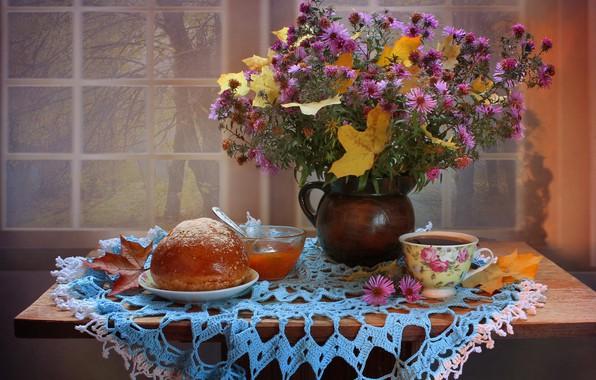 Картинка осень, листья, цветы, чай, натюрморт, хризантемы, ноябрь, абрикосовое варенье