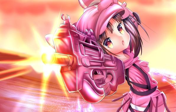 Картинка оружие, аниме, девочка, Sword Art Online, Sword Art Online Alternative: Gun Gale Online