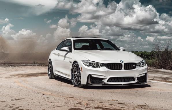 Фото обои car, BMW, road, sky, White, clouds sky