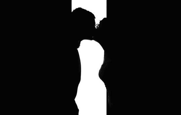 Картинка любовь, поцелуй, силует