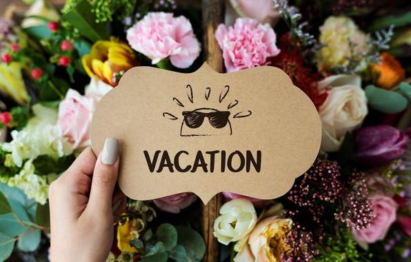 Картинка лето, цветы, надпись, открытка