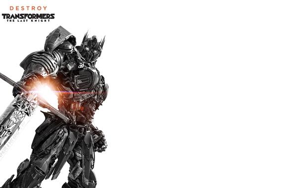 Картинка фантастика, меч, белый фон, черно-белое, постер, Optimus Prime, Transformers: The Last Knight, Трансформеры: Последний рыцарь