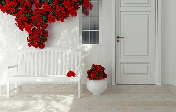 Картинка цветы, розы, интерьер, дверь, красные, ваза, декор
