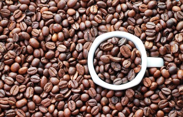 Картинка фон, настроения, кофе, зерна, круг, кружка, картинка, кофейные зёрна, coffe, белая кружка