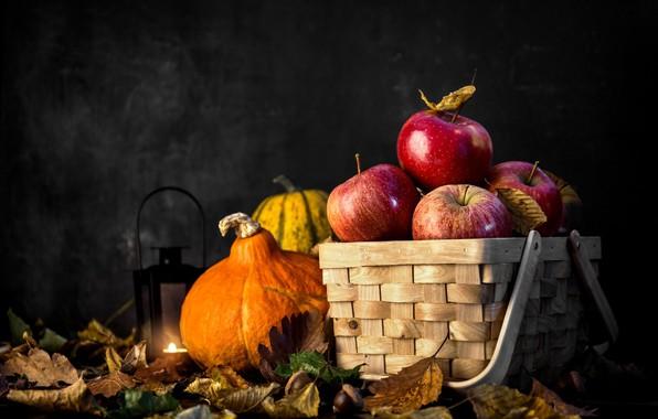 Картинка осень, листья, корзина, тыква, натюрморт, ялоки