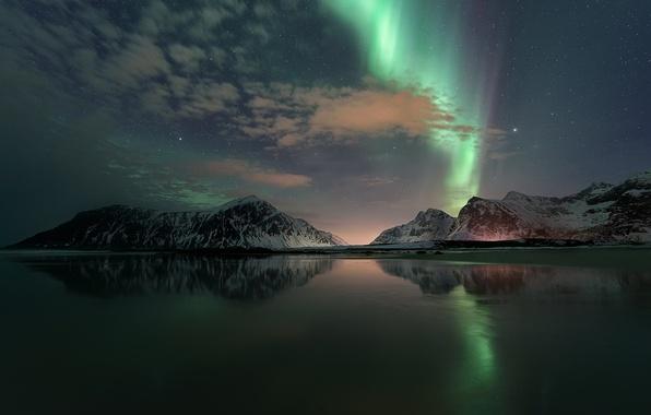 Картинка ночь, отражение, звёзды, северное сияние