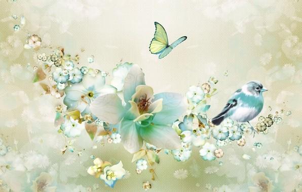 Фото обои цветы, рендеринг, фон, фантазия, коллаж, птица, бабочка, рисунок, весна, лепестки, картинка