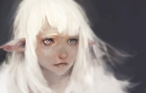 Картинка грусть, глаза, Keunju Kim, rabbiteyes, snowelf by, white hair silver eyes