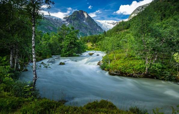 Картинка лето, деревья, горы, река, Норвегия