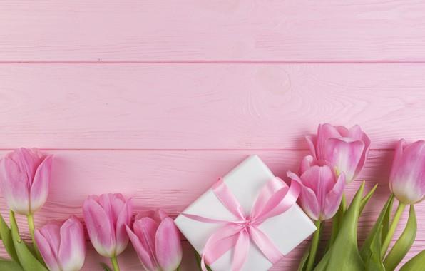 Картинка цветы, подарок, букет, тюльпаны, love, розовые, fresh, wood, pink, flowers, romantic, tulips, gift, spring, with …