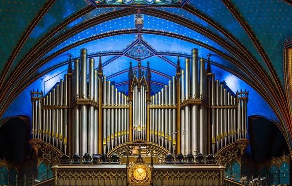 Фото обои трубы, Канада, орган, Собор Монреальской Богоматери